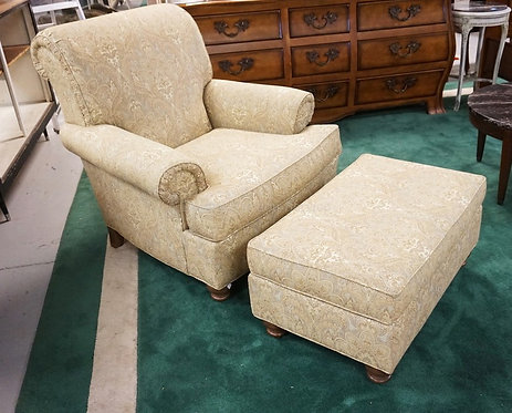 ETHAN ALLEN LOUNGE CHAIR AND OTTOMAN.