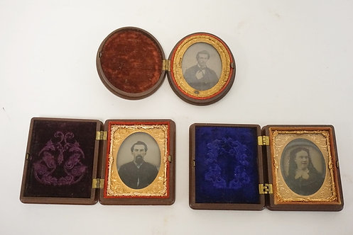 GROUP OF 3 SMALL HARD CASED IMAGES, 2 GENTLEMEN AND A LADY. LARGEST 2 1/2 X 3 IN