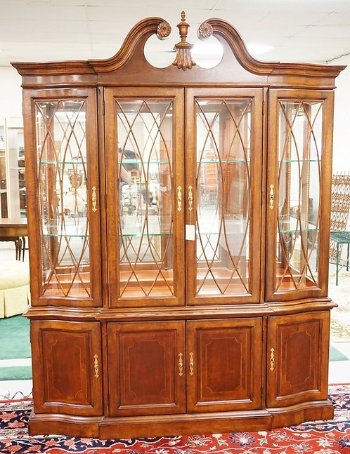 NEW FURNITURE LIQUIDATION. AMERICAN DREW 2 PC LIGHTED BREAKFRONT WITH MIRROR BAC
