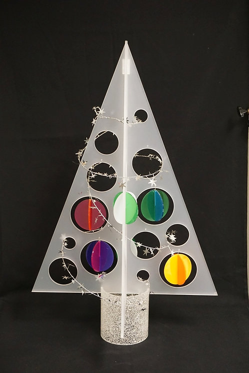 MID CENTURY MODERN LUCITE / ACRYLIC CHRISTMAS TREE WITH SOME ORNAMENTS. 28 1/4 I