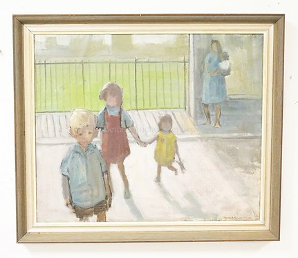 PAMELA TOWNSHEND OIL PAINTING ON CANVAS OF A MOTHER HOLDING A BABY AND 3 YOUNG C