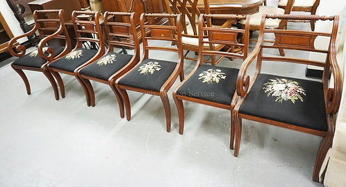 SET OF 6 MAHOGANY DINING CHAIRS WITH NEEDLEPOINT SEATS.