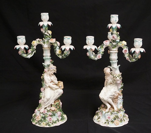 1001_PAIR OF SITZENDORF PORCELAIN CANDELABRA. APPROX 19 INCHES HIGH.