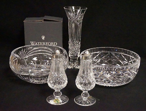 5 PIECES OF WATERFORD CRYSTAL. 2 BOWLS, A 9 INCH VASE, AND A PEDESTAL FOOTED SAL