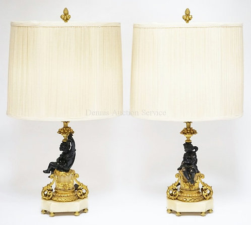 1002_PAIR OF BRONZE & MARBLE LAMPS HAVING GILT BRONZE MOUNTS INCLUDING FLORAL SW