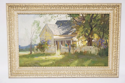 P. STRISIK OIL PAINTING ON BOARD OF A COUNTRY HOME WITH A WHITE PICKETT FENCE AN