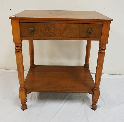 ANTIQUE CHERRY ONE DRAWER STAND WITH TURNED LEGS AND A FIGURED VENEER DRAWER FRO