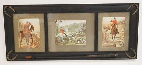 HUNT THEMED OAK FRAME WITH HORSESHOE CORNERS AND A RIDING CROP ATTACHED TO THE B