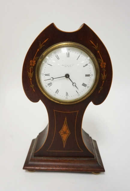 INLAID MAHOGANY ART NOUVEAU CLOCK FROM MACEYS NY 5 3/4 IN WIDE 10 1/4 IN H