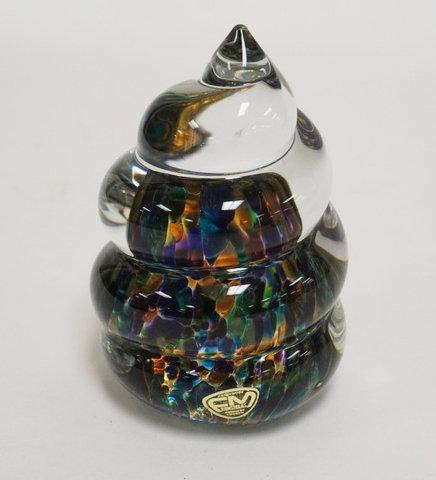 SWEDISH *KONSTGLAS* ART GLASS PAPERWEIGHT. 4 1/2 INCHES HIGH.