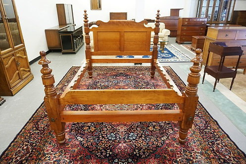 ANTIQUE CHERRY BED WITH THICK TURNED POSTS AND A SCROLL CUT HEADBOARD. 55 1/2 IN