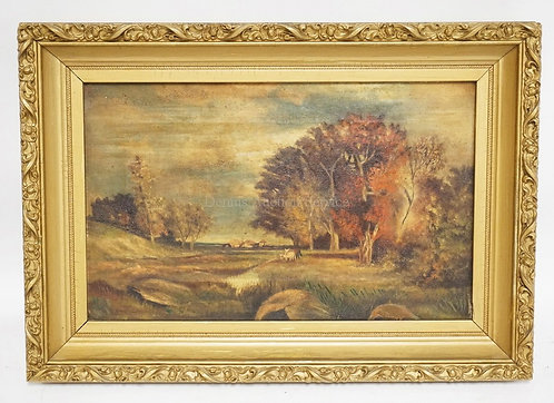 ANTIQUE OIL PAINTING ON CANVAS OF AN AUTUMN LANDSCAPE WITH COWS, TREES WITH TURN