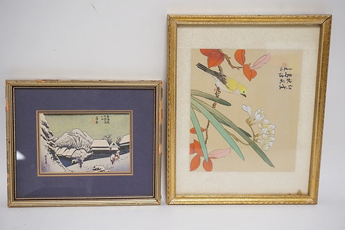 2 SMALL ASIAN PRINTS, WINTER SCENE AND BIRD ON A BOUGH. BOTH SIGNED, LARGESTIMAG