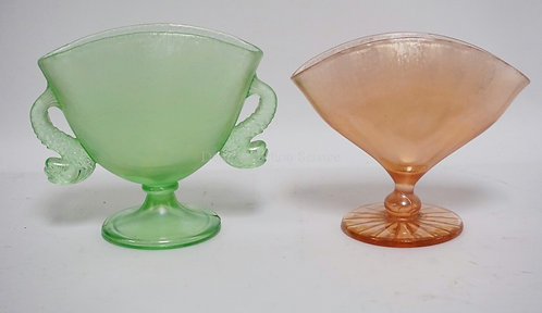 LOT OF 2 IRIDIZED STRETCH GLASS FAN VASES. ONE WITH DOLPHIN HANDLES. TALLEST IS