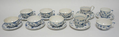 ROYAL COPENHAGEN BLUE FLUTED CUPS AND SAUCERS. #656 - 5 CUPS & 4 SAUCERS, #73 -