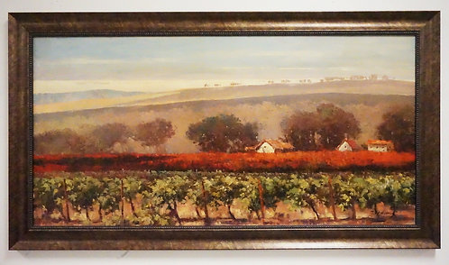 OIL PAINTING ON CANVAS OF A ROLLING COUNTRYSIDE WITH A VINEYARD IN THE FOREGROUN