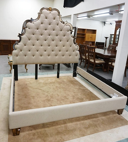 KING SIZE HIGH BACK BED BY *HOOKER* FURNITURE. HEADBOARD WITH TUFTED UPHOLSTERY
