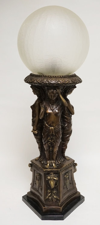 FIGURAL BRASS TABLE LAMP FEATURING RELIEF DECORATIONS OF 3 WOMEN, RAM HEADS, AND