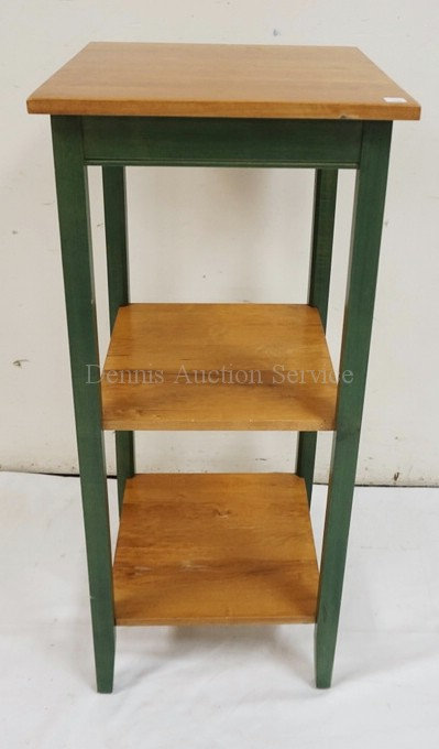 ETHAN ALLEN 3 TIER STAND IN GREEN AND NATURAL WOOD. 30 1/2 INCHES HIGH. 15 INCHE