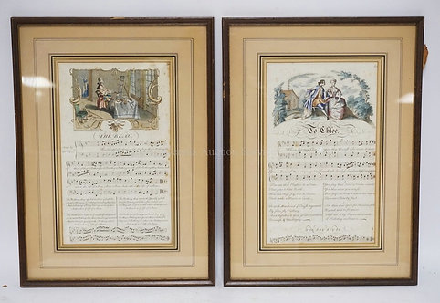 2 FRAMED ANTIQUE MUSIC PAGES WITH ENGRAVINGS. 18 3/4 X 13 3/4 INCH FRAMES.