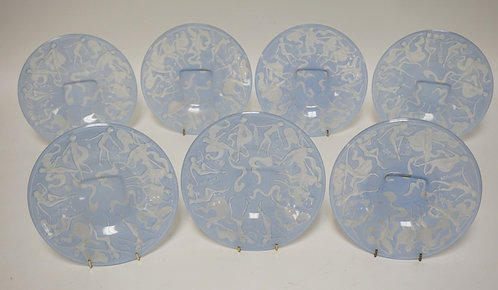 LOT OF 7 CONSOLIDATED ART GLASS *DANCING NUDES* PLATES MEASURING 8 1/4 INCHES IN