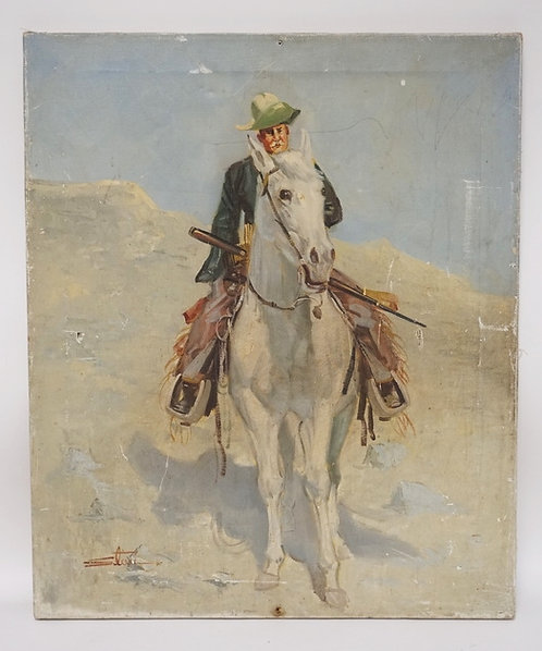 OIL PAINTING ON CANVAS OF A WESTERN SCENE FEATURING A COWBOY ON HORSEBACK. SIGNE