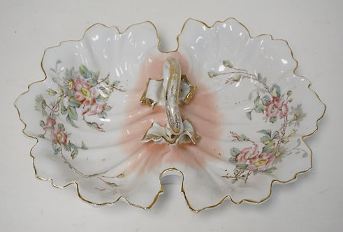 PORCELAIN SWEET MEAT DISH WITH CENTER HANDLE. DECORATED WITH FLOWERS. 14 X 10 IN