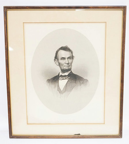 JOHN A. O'NEILL PRINT OF LINCOLN. 16 1/2 X 18 3/4 INCH FRAME. WATER STAIN BOTTOM