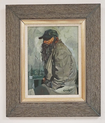 STANLEY M. ZUCKERBERG (1919-1995) OIL PAINTING ON BOARD OF A FISHERMAN. SIGNED L