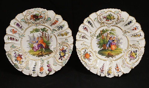 PAIR OF DRESDEN PORCELAIN PLATES DECORATED WITH COURTING COUPLES ALONG WITH FRUI