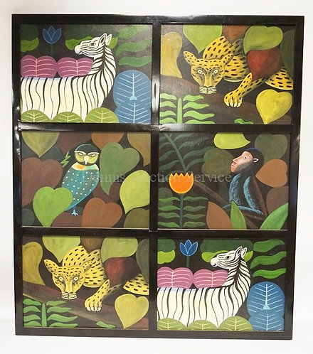 FRAMED SET OF 6 HAND PAINTED PANELS BY *MARCO POLO'S WORKSHOP* DEPICTING JUNGLE