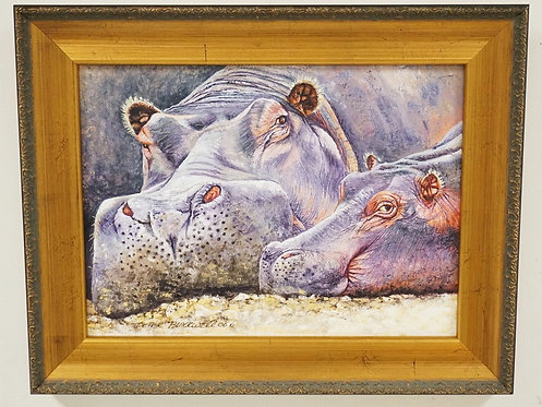 PETER BLACKWELL OIL PAINTING ON CANVAS OF A PAIR OF HIPPO. 14 1/2 X 10 1/2 INCH