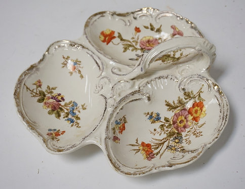 BONN GERMANY 3 PART BOWL WITH HANDLE. FLORAL D�COR. 8 3/4 INCHES WIDE.