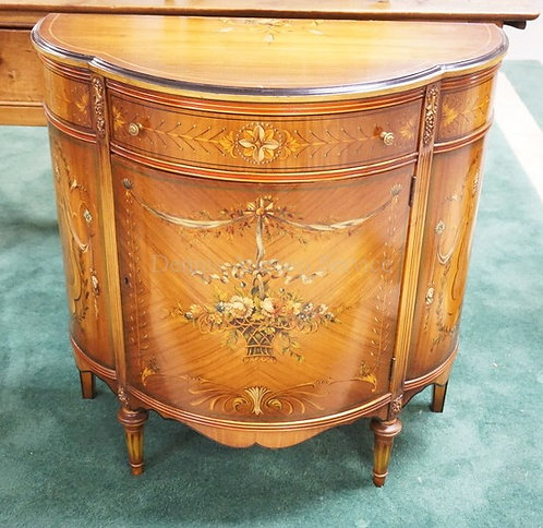 JOHNSON-HANDLEY-JOHNSON BOW FRONT CABINET WITH ONE DRAWER OVER ONE DOOR. BEAUTIF