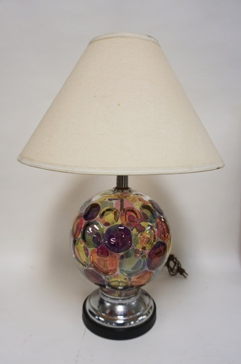 MODERN CHROME AND GLASS LAMP WITH MULTI COLOR DOT OPTIC STAIN. 26 1/4 IN H. SOME