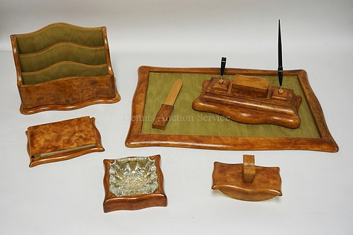 LEATHER DESK SET CONSISTING OF THE BLOTTER, PEN STAND, LETTER BOX, NOTE PAD, ASH