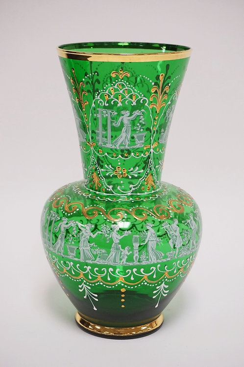 EMERALD GREEN GLASS VASE WITH WHITE AND GOLD ENAMEL DECORATION INCLUDING GRECIAN