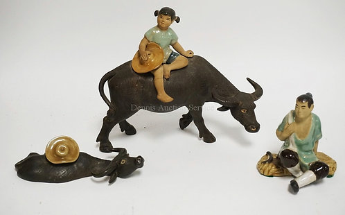 LOT OF 3 ASIAN FIGURES. LEG ON THE GIRL IS REPAIRED. TALLEST IS 6 1/2 INCHES.