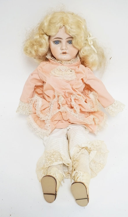 HEUBACH BISQUE HEADED DOLL. 1900-0 1/2. 17 INCHES HIGH.