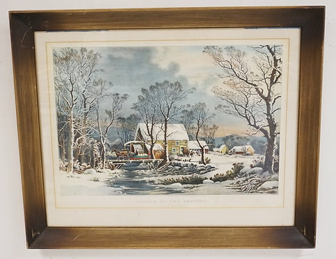 CURRIER & IVES LITHO *WINTER IN THE COUNTRY - THE OLD GRIST MILL*. 28 X 20 1/2 I