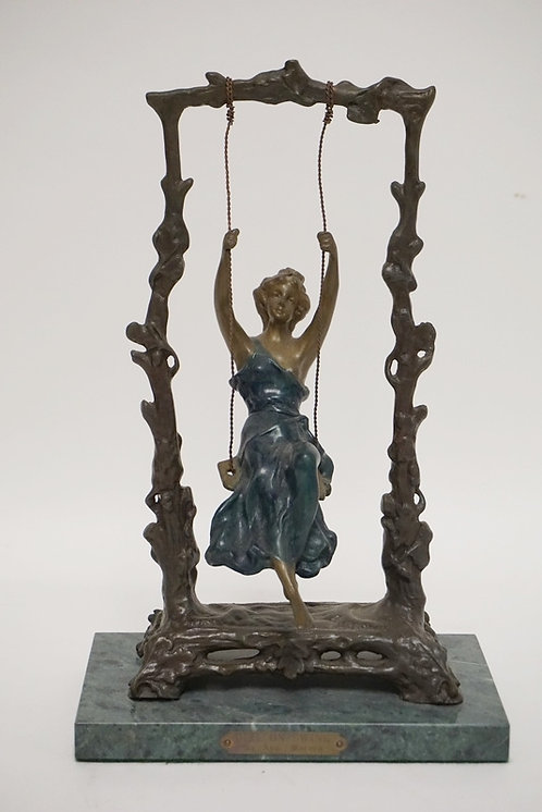 AUGUST MOREAU METAL SCULPTURE *GIRL ON SWING* ON A GREEN MARBLE BASE
