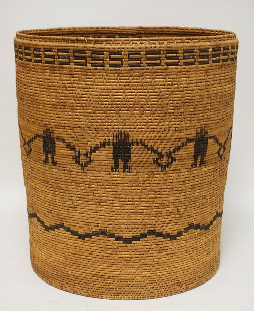 LARGE POLYNESIAN WOVEN BASKET DECORATED WITH FIGURES AND PATTERNED BANDS. 18 1/2