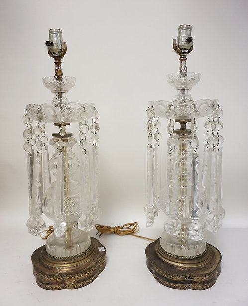 PAIR OF CUT GLASS LUSTRES WITH CUT GLASS LONG DROP PRISMS.