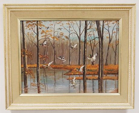 J. MARTIN OIL PAINTING ON BOARD OF DUCKS LANDING IN A POND. 23 1/2 X 17 1/2 INCH
