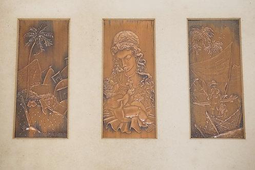 1177_BRAZILIAN RELEIUEF DECORATED COPPER PANELS. FRAME MEASURING 16 1/4 X 11 1/4