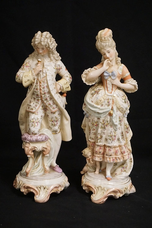 PAIR OF KPM PORCELAIN FIGURES MEASURING 13 INCHES HIGH. BOTH CRACKS.