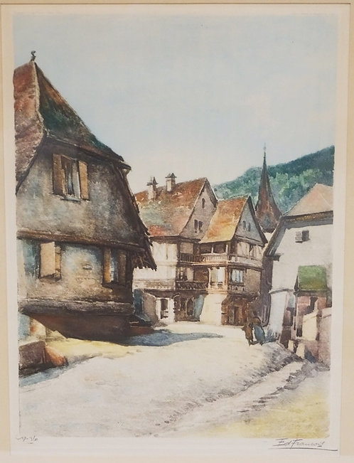 EDOUARD FRANCOIS COLOR ETCHING TITLED *KAISERBERG*. PENCIL SIGNED. 11 1/2 X 15 1