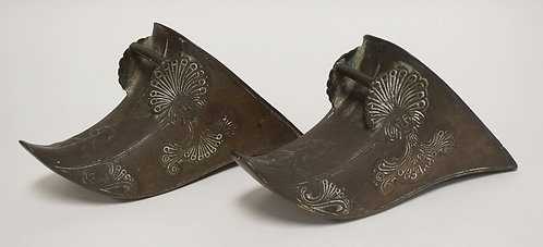 PAIR OF BRONZE STIRRUPS MEASURING 10 1/4 INCHES LONG.