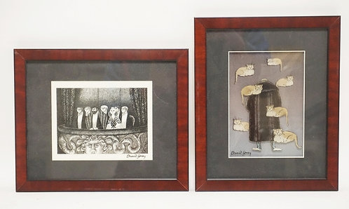 LOT OF 2 EDWARD GOREY LASER CELS. *EDWARD GOREY AND THE FLOATING CATS* AND *BLUE