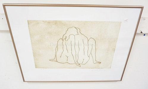 KNUT STEEN PENCIL SIGNED PRINT OF 2 NUDE FIGURES. ARTISTS PROOF. 19 1/2 X 12 1/4